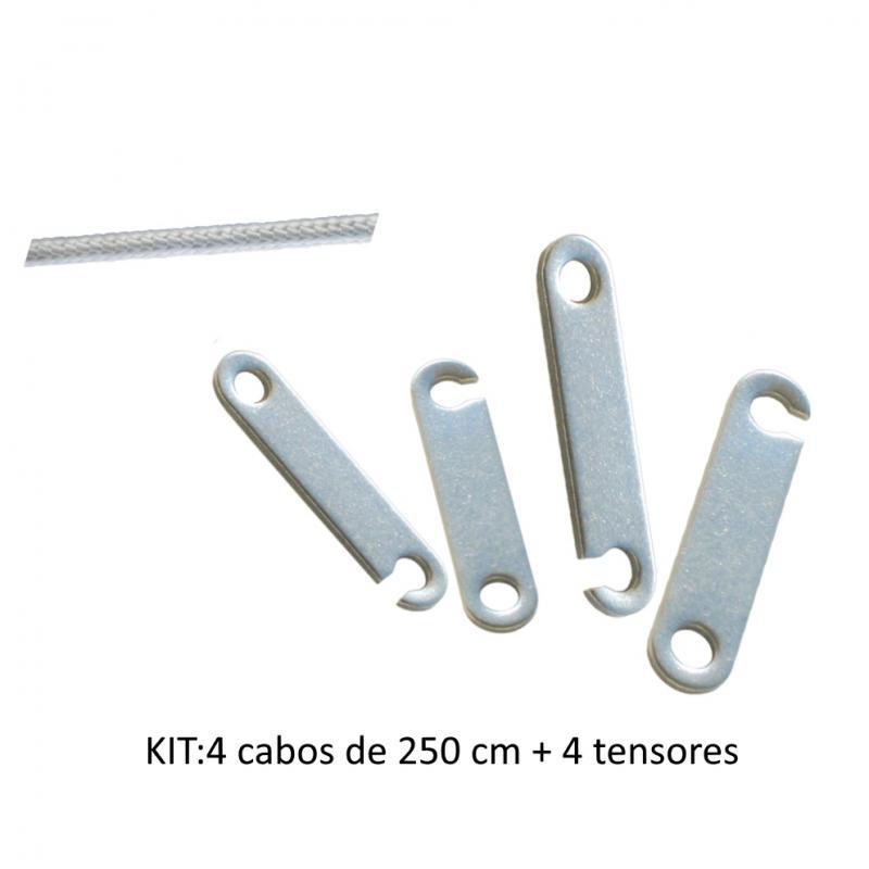 Kit cabo trenzado y tensores para toldos de acero inoxidable
