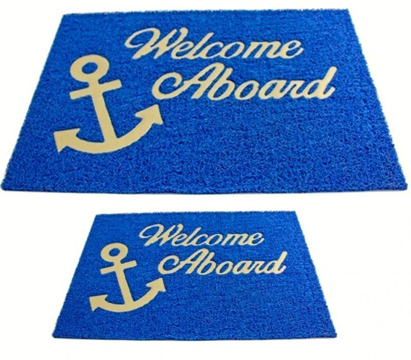 Alfombrilla de Bienvenida con forro, PVC color Azul - Las alfombrillas de Bienvenida Welcome Aboard. Se diseñan para dar máxima comodidad y proporcionar una superficie cómoda, elástica y antiderrapante.