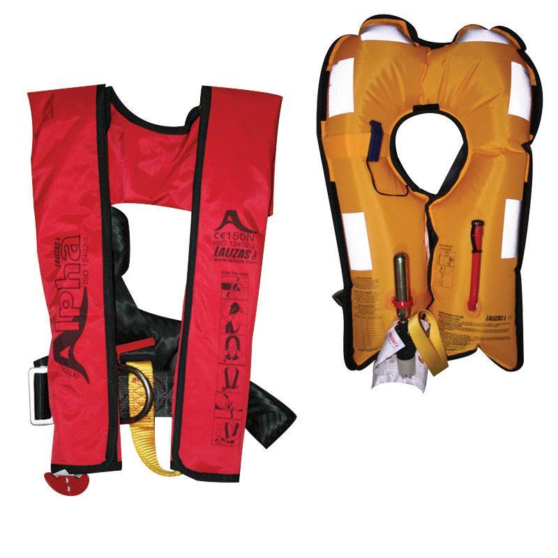 Chaleco Salvavidas Hinchable Alpha 150N, CE ISO 12402-3 - El chaleco salvavidas Alpha 150N, de infflado a gas, está orientado para navegación costera o de litoral, ofreciendo un alto nivel de seguridad a un coste razonable.