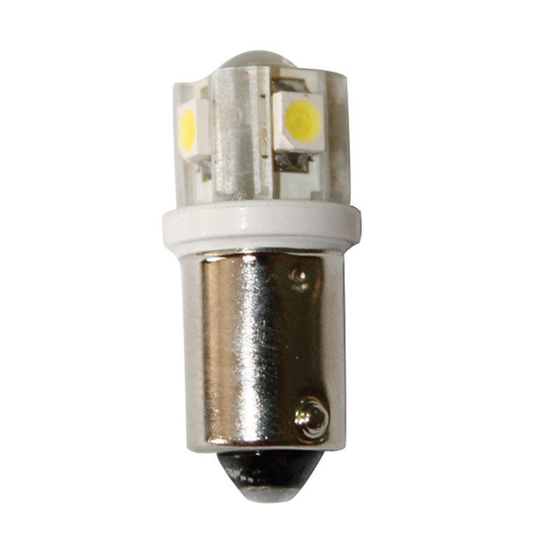 Bombilla 12V, LED, BA9S, blanco frío - 4SMDs + 1LED - Blanco frío, cantidad de LED: 4SMD + 1, cubierta de vidrio. Diámetro del casquillo: 9 mm, altura total: 25.5 mm. Brillo: 37.5 lúmenes.