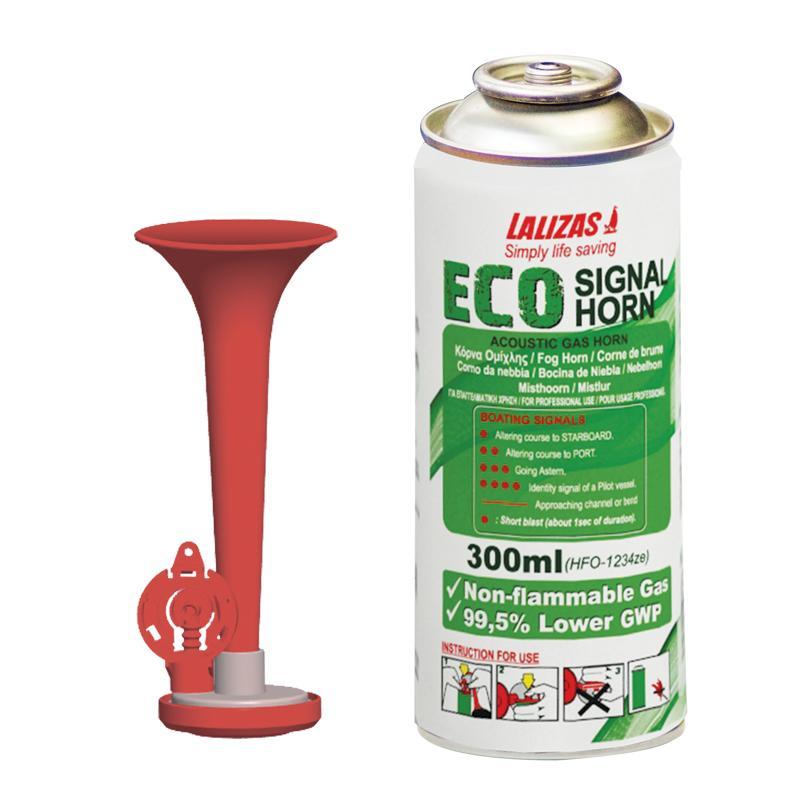 Juego Bocina de Gas con carga Eco 300 ml - Gas NO Flamable. La Eco 300 es un práctico dispositivo fácil de utilizar para señalizar nuestra posición en la niebla, rescate o cualquier situación de emergencia.