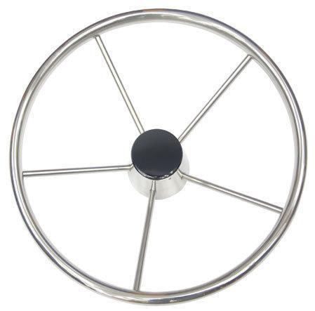 Rueda de Timon inoxidable - Rueda de timón de acero inoxidable con embellecedor negro.   Diámetros: 343 o 390 mm