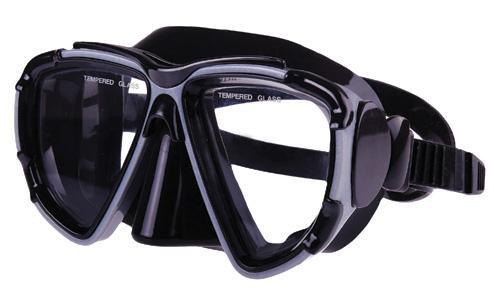 Mascara Silicona 2 ventanas - Mascara de silicona, color negro-plata, con 2 ventanasdecristaltemplado.