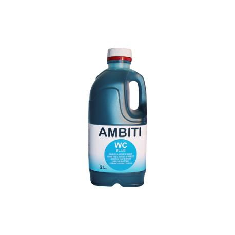 Ambiti Blue 2L. Liquido especial para WC quimicos - Ambiti Blue  2 L. .   Aditivo perfumado, para su uso continuado en inodoros químicos portátiles o cassettes, depósito de residuos, destinado a la descomposición y eliminación de los residuos orgánicos y papel higiénico.