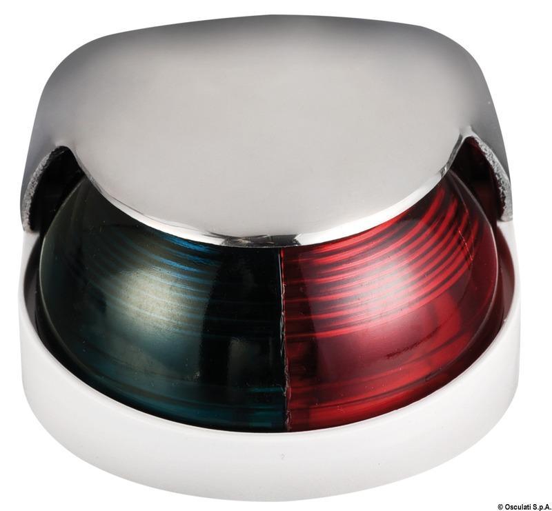 Luz de cubierta Bicolor Osculati, 225 ° rojo / verde, Inox AISI 316  - Luces de navegación 12 Voltios, para embarcaciones de eslora inferior a 12 m.   Alcance 2 millas..   Potencia : 8 W.