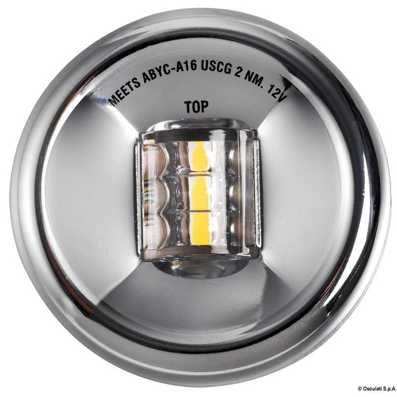 Luz LED de Popa Mouse Redonda Inox, para embarcaciones menores de 20 m