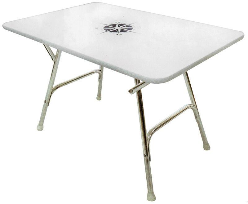 Mesa de cubierta plegable rectangular 110x60cm Altura 70cm - Marco de aluminio anodizado de Ø 25 mm, sobre de mesa VERZALIT blanco con decoración, grosor de 16 mm.
