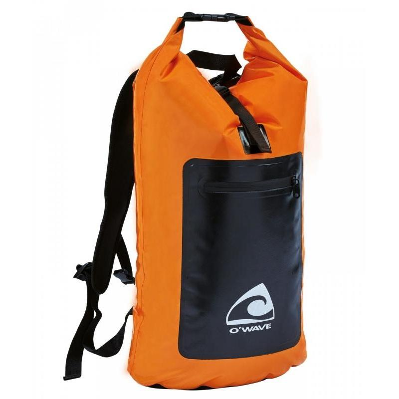Mochila estanca O'Wave 30L - Mochila bicolor naranja y negra en lona 500D, tejido de poliéster IP66 500 g / m² recubierto con doble capa de PVC. Capacidad 30 Litros.