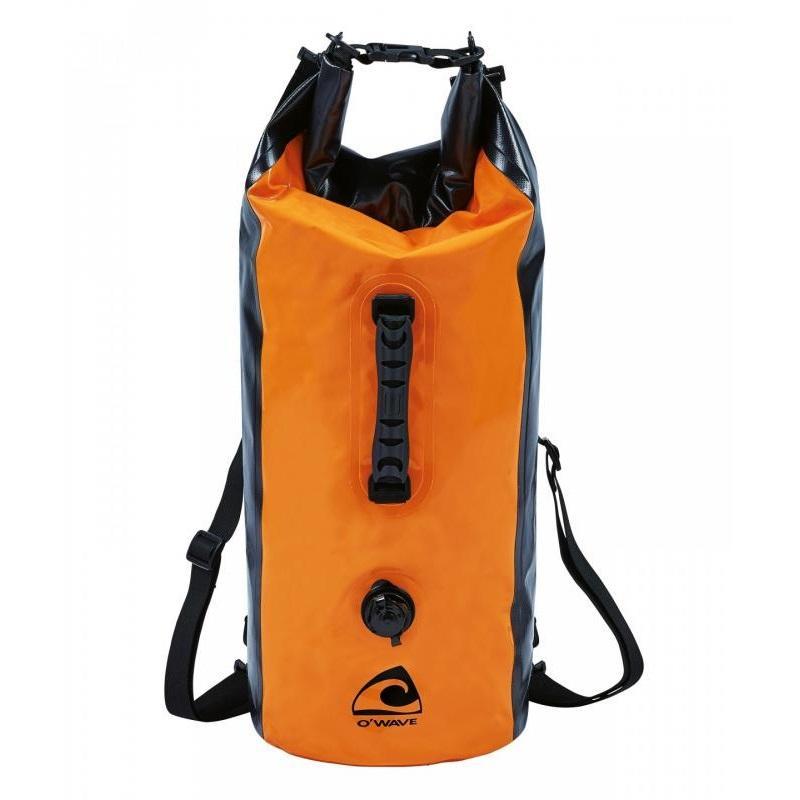 Mochila estanca O'Wave con valvula 30L - Mochila con válvula de dos tonos naranja y negra en Lona 500D, tejido de poliéster 500 g / m² con doble recubrimiento de PVC. Capacidad 30 Litros.