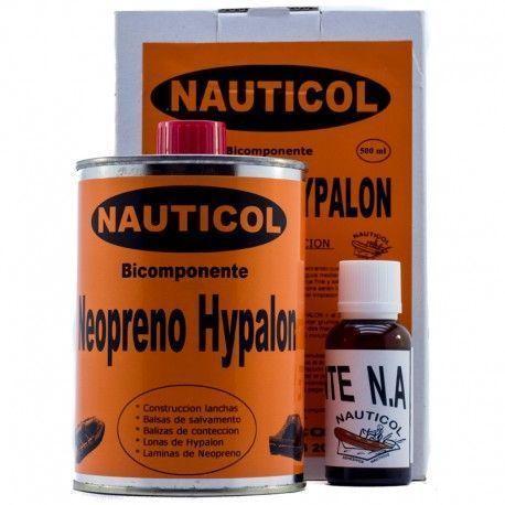 Kit Nauticol 2 Componentes para reparacion neumáticas Neopreno / Hypalon - Pegamento paraNeopreno y neopreno Hypalon NauticolPlus . Potente adhesivo solvente en base policloropreno y de 2 componentes.