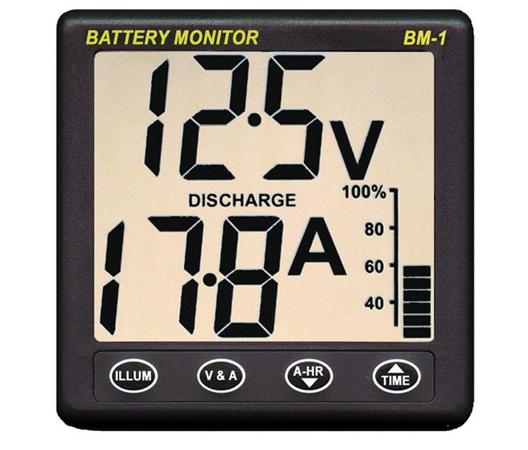 Instrumento medidor de consumos de batería BM-1 - Conoce el estado de las baterías en todo momento y cuántos amperios hora ha consumido desde su puesta a cero.. Sirve para bancos de baterías de hasta 650h. Se suministra con un shunt de 100A y un cable de 5m.