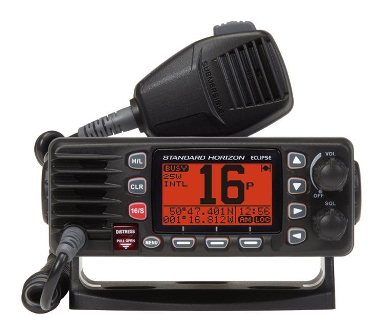 Emisora VHF Fija Standard Horizon Eclipse GX1300E  con DSC - La emisora MR F57B es una potente radio VHF con pantalla LCD de gran tamaño,  puede seleccionar 1 o salida de 25 vatios es perfecto para corto alcance o la comunicación a larga distancia.