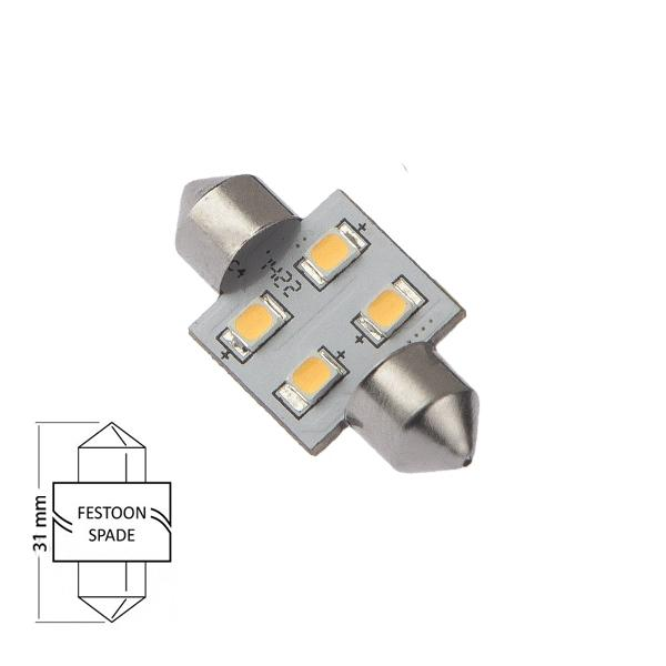 Bombilla 12V nauticLED F31-F4-WW con casquillo Festoon - Bombilla LED base de Festoon, 31 mm, con controlador de estabilización interno de 10-35 VCC, 2700K CCT, Ra> 85.