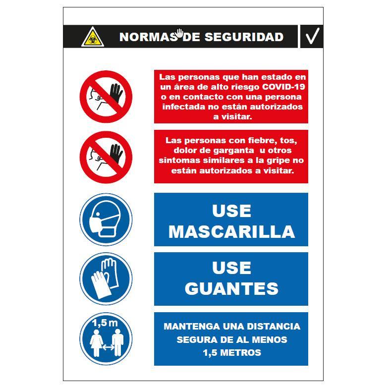 Panel Glasspack - Normas de Seguridad  Básicas a seguir  Vertical COVID-19