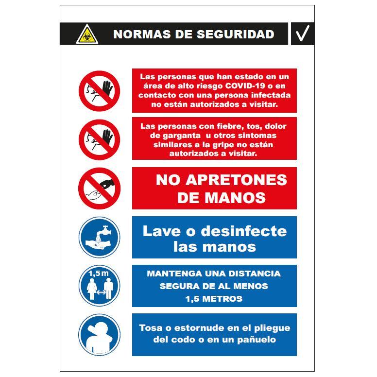 Panel Glasspack - Normas de Seguridad  ampliadas a seguir  Vertical COVID-19