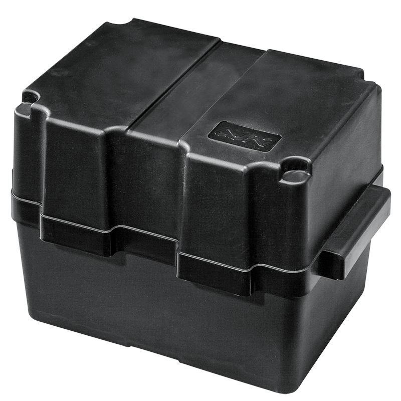 Caja para baterias hasta 80Ah - De polipropileno rigido resistentes a los acidos. Servida con cincha de sujeción.