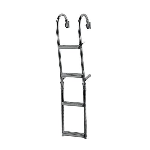 Escalera plegable Inox Nuova Rade Peldaños Estrechos Inclinacion 180 Grados - Concepto único de ajuste de los peldaños. Este sistema exclusivo permite conservar los peldaños horizontales cualquiera que sea la forma del espejo de popa.