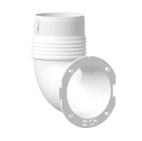 Soporte rejilla de ventilacion acodado Nuova Rade - Manguito para salidas de 3 (70 mm). Fabricado en polipropileno para ofrecer una buena resistencia a los UV. Resistentes a los golpes, las tracciones y compatibles con la mayoría de las masillas ; son impermeables a los ácidos acéticos.