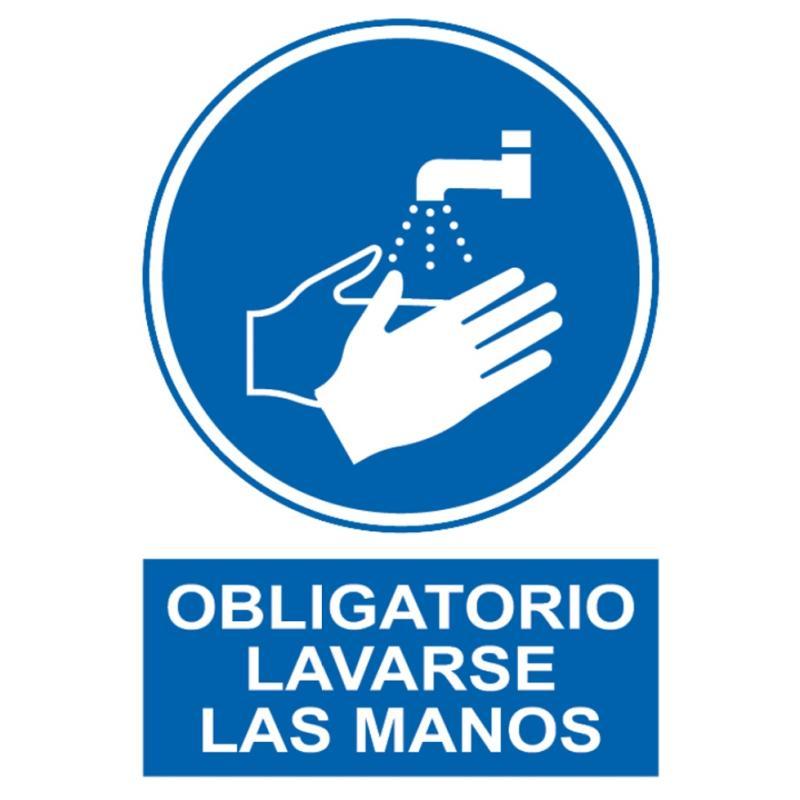 Vinilo  adhesivo - Obligatorio Lavarse las manos