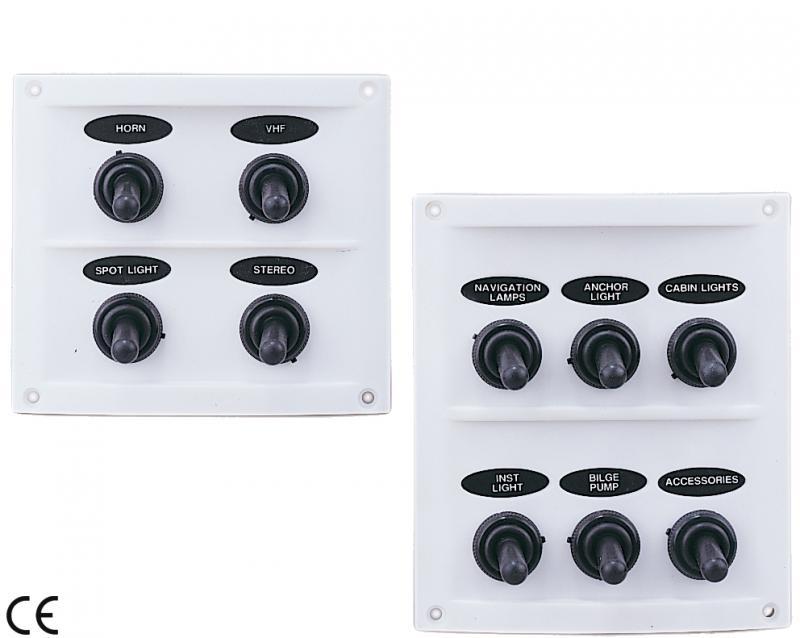 Panel Electrico Estanco 4 o 6 interruptores waterproof - Panel en material plástico resistente a los rayos UV e interruptores con recubrimiento de neopreno aprobado por UL.