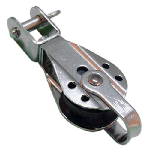 Polea con Giratorio Inox con Arraigo - Polea simple de acero Inoxidable AISI 316 y roldana de Delrin.   Para cabo de 8 o 10 mm