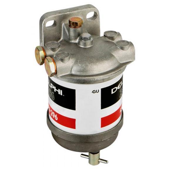 Filtro Separador Combustible Delphi 296 - 50l/h - Filtro para carburante de motores diésel, con vaso de decantación y tornillo de purga.