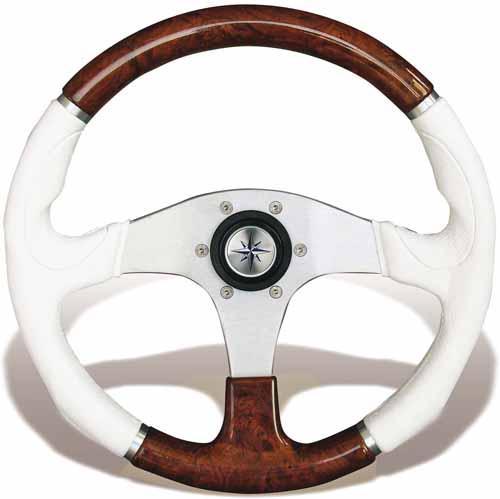 Volante Evolution 355 Blanco - Volante fabricado en poliuretano blanco combinado con madera y centro plateado.   Diámetro exterior: 355 mm