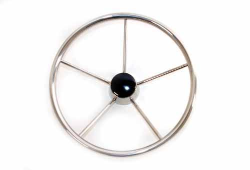 Rueda de Timon inoxidable D400 - Rueda de timón de acero inoxidable con embellecedor de madera.   Diámetro: 400 mm