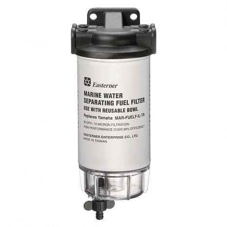 Easterner Filtro Separador Agua/gasolina, Decantador 340 L/H Universal 10µ EA-C14773P - El filtro viene completo con una carcasa de aluminio resistente al agua, conectores de manguera de combustible de 2 x 9,5 mm y 2 x 3/8
