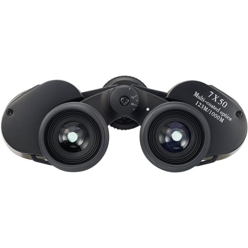 Prismatico 7X50 BASIC PLUS enfoque central + ocular - Prismáticos resistentes recubiertos de goma con superficie rugosa y gran unidad central para facilitar su uso.  Aumentos: 7.   Diámetro objetivo: 50 mm.