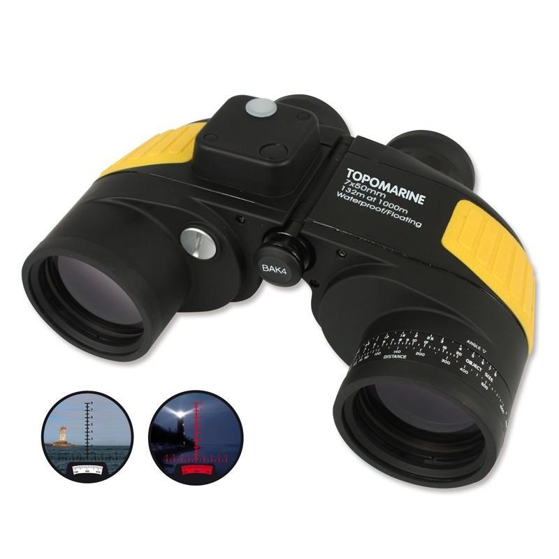Prismatico Topomarine Waterproof compas 7x50 - Prismático estanco a la inmersión y a la condensación con compás integrado retro iluminado. Flota  Aumentos: 7  Diámetro Objetivo: 50 mm  Enfoque: Autofocus más ocular