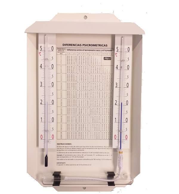 Psicrometro exterior con tabla -5+50º - Psicrometro con tejadillo montado sobre soporte metálico pintado en color blanco.