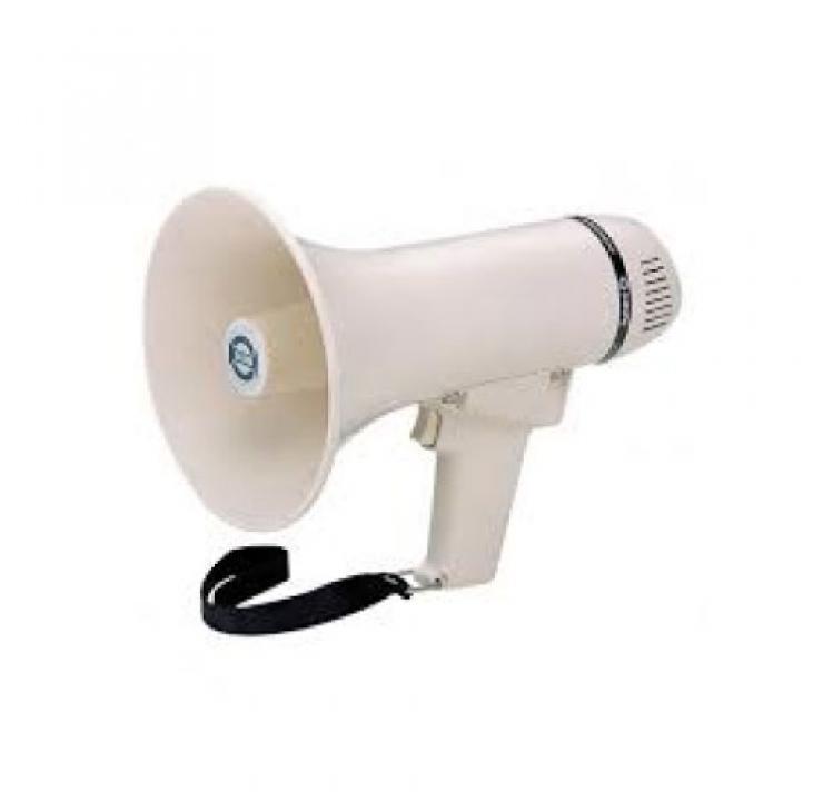 Megáfono Transistorizado con Sirena 8w. ER-226S - Funcionacon 6 pilasde 1,5 V. (No incluidas). Potencia de salida: 8W . Rango de audición: 300-350 metros aprox.