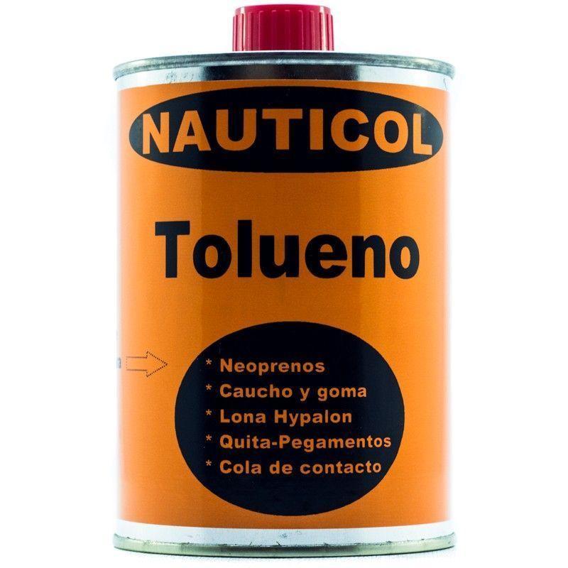 Disolvente Nauticol Tolueno para tejidos Neopreno - Nauticol Tolueno es un compuesto orgánico e incoloro con un olor característico y que seca por evaporación. Usado en la fabricación de pinturas como diluyente para pinturas, lacas, adhesivos, barnices, resinas, gomas y en ciertos procesos de imprenta y curtido de cuero, así como para la limpieza de tejidos.