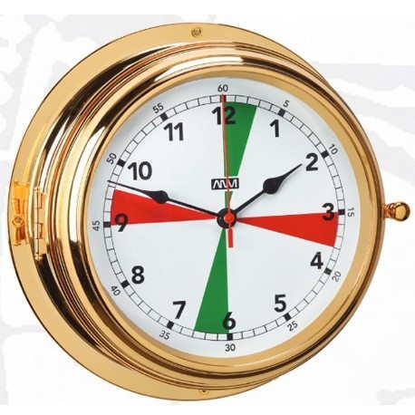 Reloj con Zonas de Silencio. XXL Esfera 190 mm - Caja de latón pulido y lacado con puerta bisel en laton macizo y cristal   Esfera 190 mm.   Base 280 mm.   Altura 115 mm