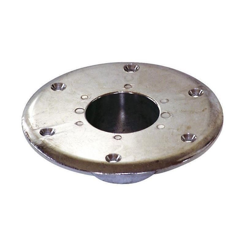 Base Inferior Empotrable Aluminio Anodizado para Pedestal Mesa, sin rosca - Base para empotrar, fabricada en aluminio anodizado, para pie de mesa sin rosca. Diámetro 155mm. Altura 50 mm. Interior 58x45mm