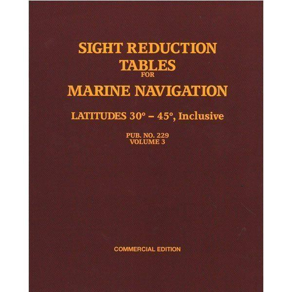 Sight Reduction Tables HO-229 Marine Navigation Volume III Latitudes 30-45