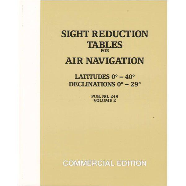 Sight Reduction Tables HO-249 Air Navigation Volume 2 Latitudes 0-40