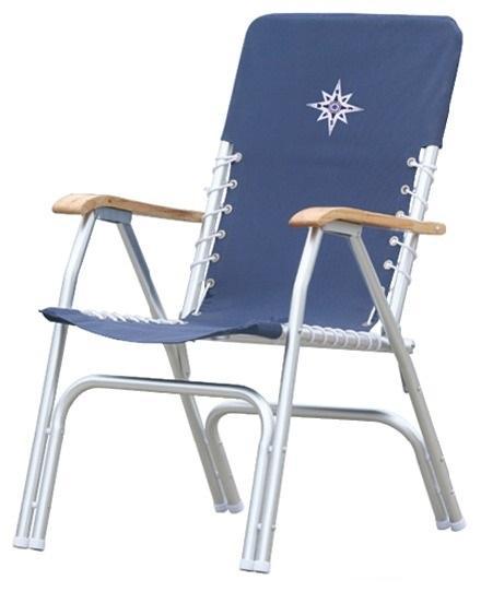 Silla Tumbona plegable azul marino - Marco de aluminio anodizado Ø 25 mm. Asiento de poliéster 600D. Pernos y tornillos de acero inoxidable, apoyabrazos de madera recubiertos de poliuretano.