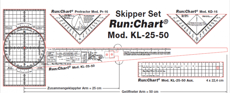 Skipper Set. Transportador de un brazo Run:Chart KL-25-50 + Set de reglas