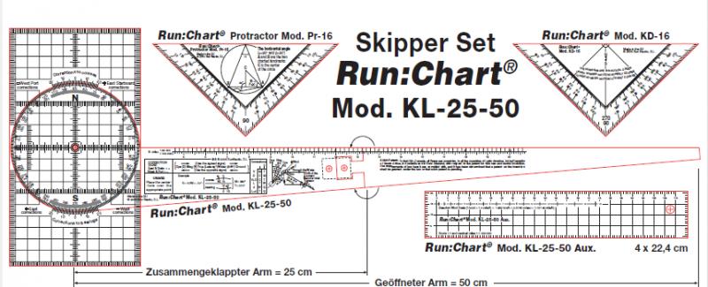 Skipper Set. Transportador de un brazo Run:Chart KL-25-50 + Set de reglas