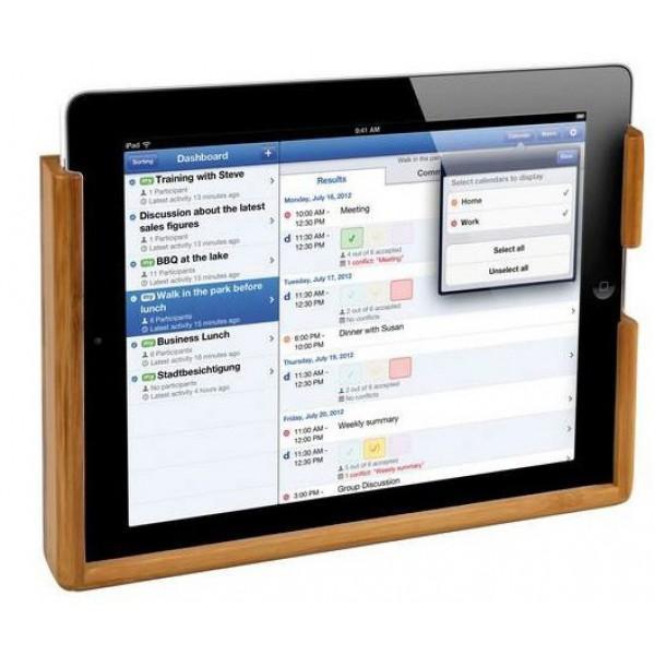 Soporte Bambú para Tabletas e iPad - Soporte para interior, compuesto de laminas pegadas y fabricado a partir de caña de bambú. Medidas 130 x 85 x 15 mm