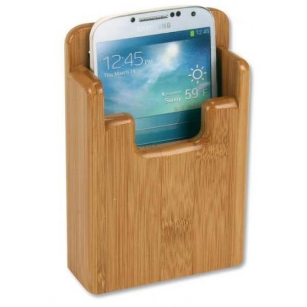 Soporte Bambú para Smartphone - Soporte para interior, compuesto de laminas pegadas y fabricado a partir de caña de bambú. Medidas 130 x 75 x 21 mm