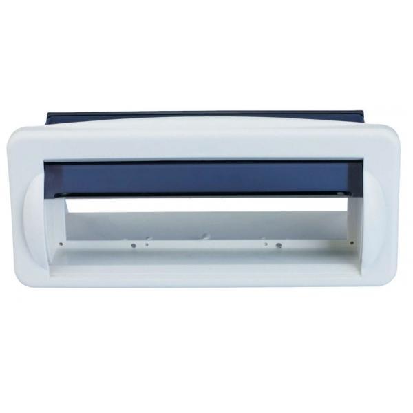 Caja Estanca para Radio con Tapa Basculante - Frontal estanco con tapa para radio, fabricada en Plexiglass..   Dimensiones: 240x110mm.