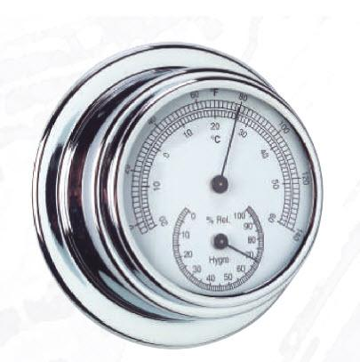 Termometro - Higrometro Standard Case Esfera 70 mm Cromado