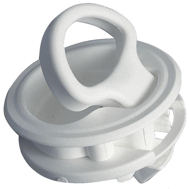 Tirador con cierre, nylon blanco, sin cerradura - Hecho de nylon blanco , equipado con tope de bloqueo de acero inoxidable y dos topes de 2 mm.