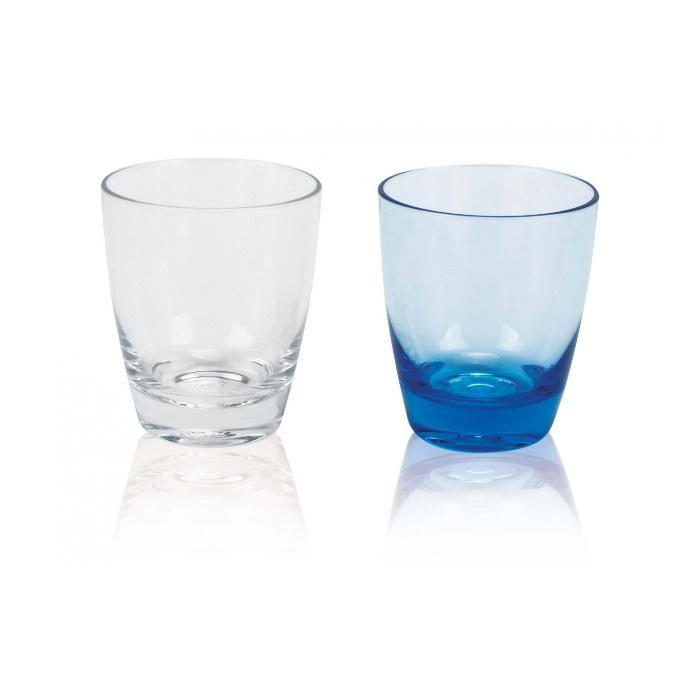 Vasos Capri apilables acrilicos Azul o Incoloro Plastimo