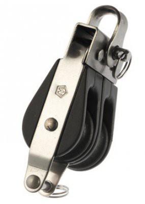 Polea Doble Inox con anilla y arraigo Wichard para cabos de 4 a 8 mm - Polea doble con anilla y arraigo, sin rodamientos, para vela ligera y barcos de poca eslora.