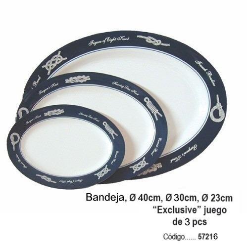 """Bandeja """"Exclusive"""" Juego 3 Piezas - El conjunto contiene 3 bandejas de 40, 30 y 23 cm respectivamente. Están hechas 100% de melamina y se puede utilizar en el microondas sin ningún problema."""