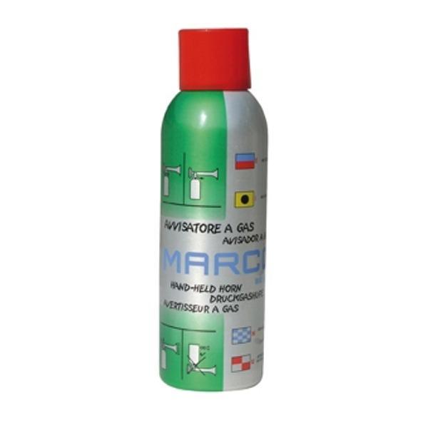 Botella de Recambio para Bocina de Gas Liquido MARCO - Botella monobloque en aluminio de 200 ml con gas ecologico inflamable.